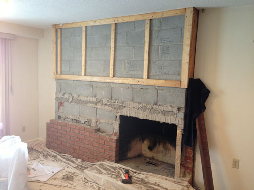 Fireplace Remodel - Replacing Brick Facing - Concrete, Stone ...