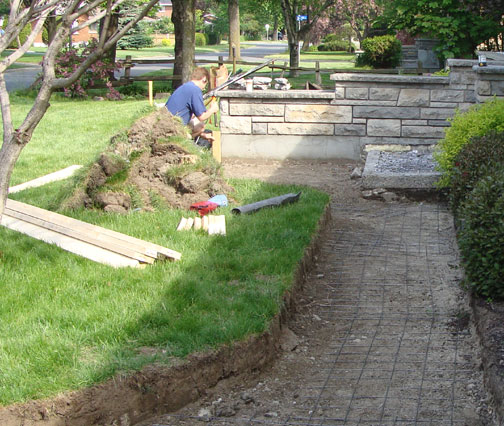 Case study concrete walkway landing concrete forms for Removing concrete walkway