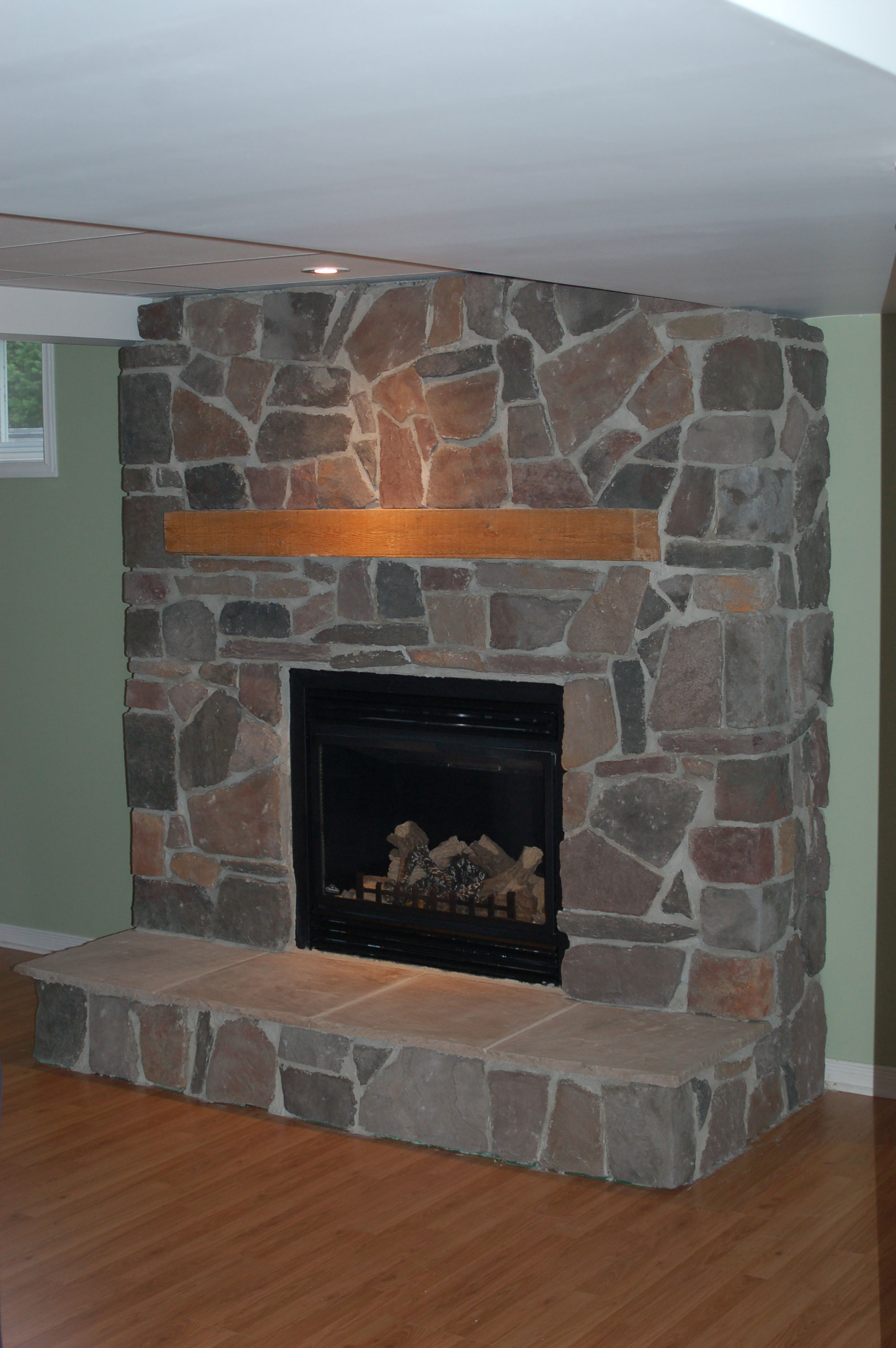 Faux Slate Floor Tiles Natural Stone Fireplace Surround - Ottawa Case study ...