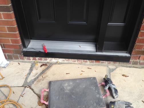 Stone Door Sill Replaces Brick Door Sill